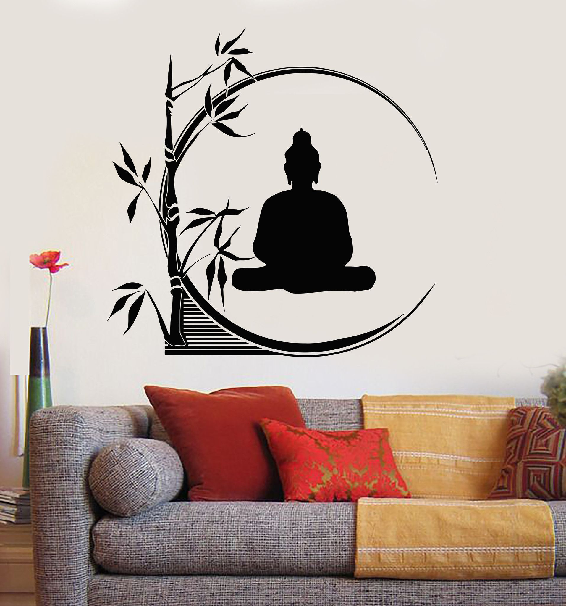 Vinyl Wall Decal Buddha Meditation Circle Yoga Reed Buddhism