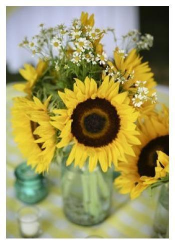 Centerpiece. Sunflowers with baby daisies in a mason jar. Add twine around edge of mason jar. :)