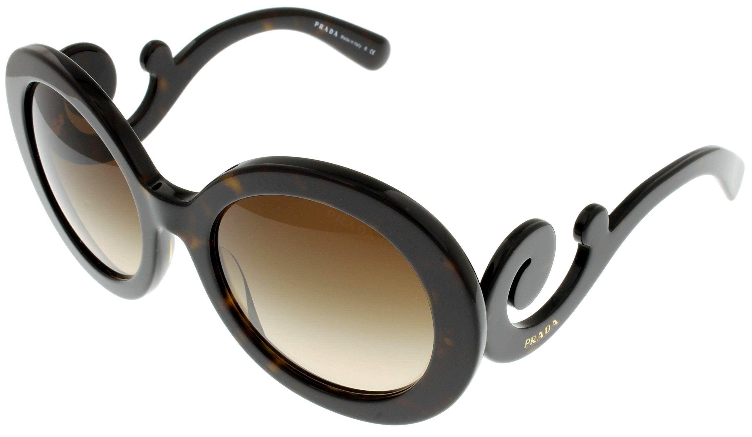 Prada Sunglasses Women Havana PR27NS 2AU-6S1 Round. Frame Color: Dark Havana. Lens Color: Brown. Gender: womens. Case Included. Made in: Italy.