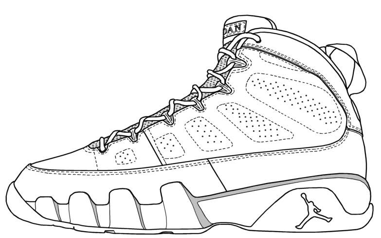 Doernbecher Retro To Be Air Jordan 9 Jordan Coloring Book Shoe Template Sneakers Drawing