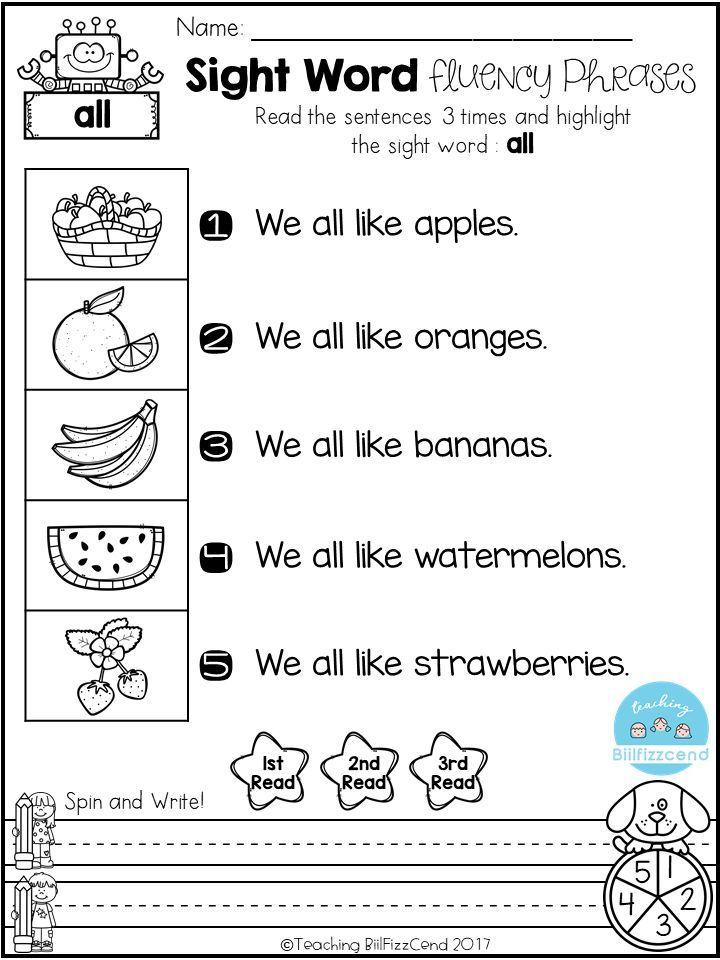 FREE Kindergarten Sight Word Fluency Phrases(Pre-Primer, Primer ...