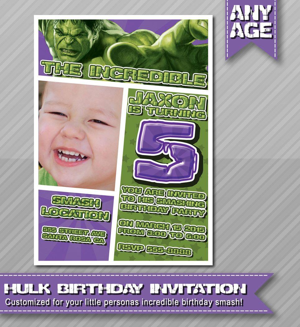 Hulk Birthday Invitation Hulk Party Invite Hulk Printable – Hulk Party Invitations
