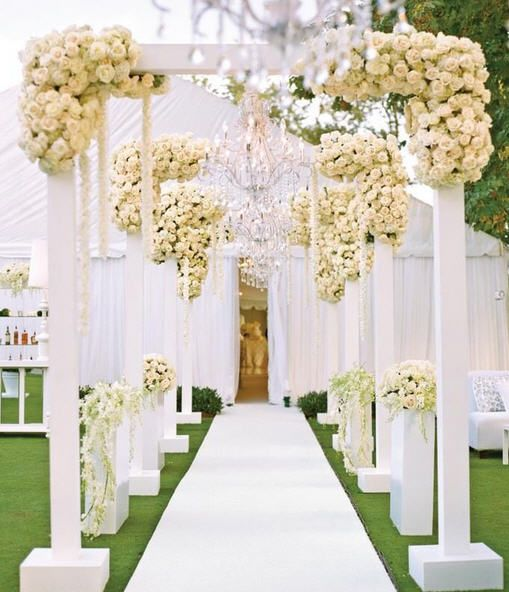 Guests walked through this floral archway to enter a romantic white reception tent. This wedding can be found in our Summer issue! & White arch | Backdrops and Arches | Pinterest | Arch Wedding ...