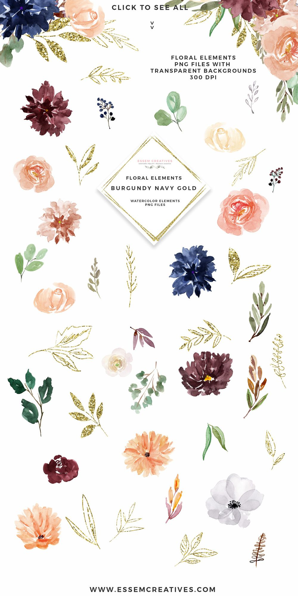 Burgundy Navy Gold Watercolor Flowers Clipart Geometric Gold