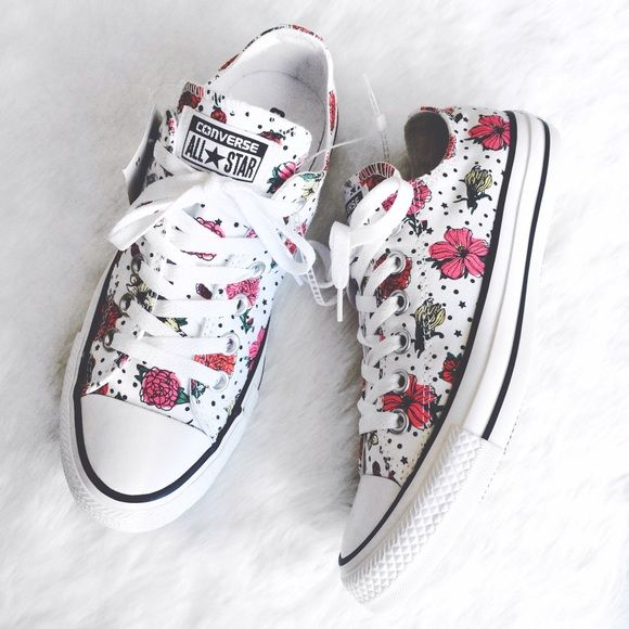 4abe4323cad0 White and Floral Printed Converse Brand new white Converse with a floral  print! In perfect condition