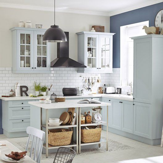 Meuble de cuisine bleu delinia ashford maison pinterest - Meubles de cuisine leroy merlin ...
