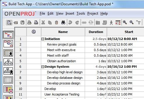 How To Create A Project Plan Using Free OpenProj Software