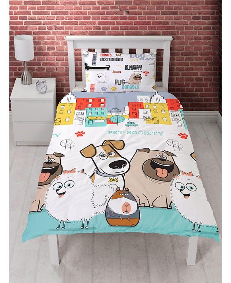 This Adorable The Secret Life Of Pets Animals Single Duvet Cover Set Features Adorable Pets Max Gidget Mel Kids Duvet Cover Single Quilt Animal Lover Bedroom