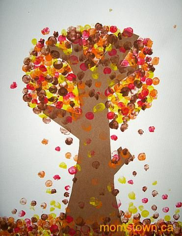 Pointillism for preschoolers seurat inspired fall trees for Fall crafts for preschoolers pinterest