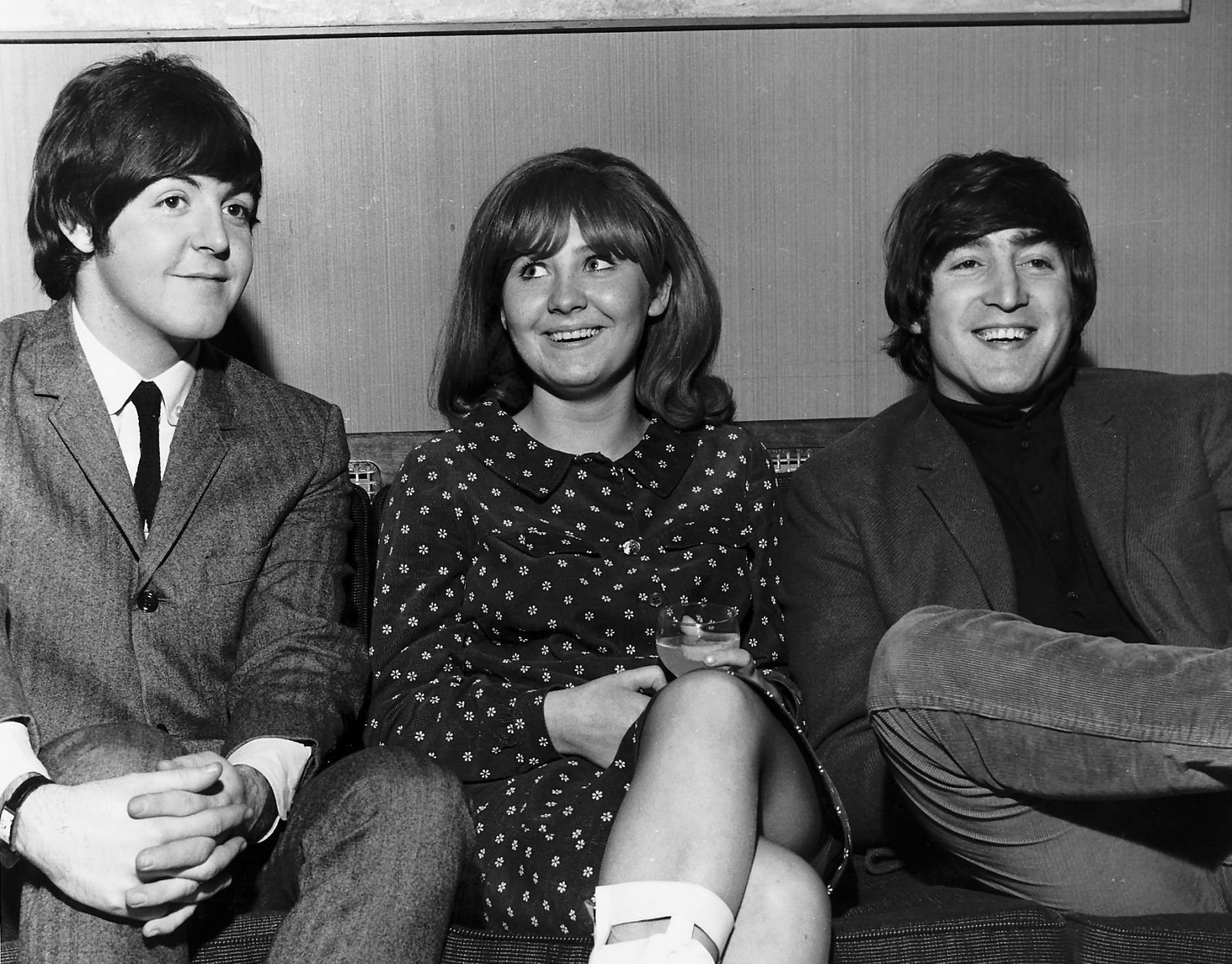 John Lennon With Paul McCartney And Lulu Backstage At A Granada TV Recording Of Tribute Programme The Music In December 1965