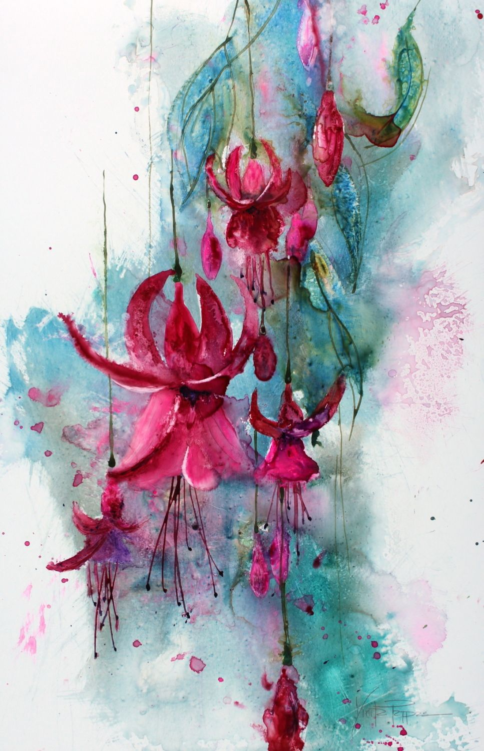 Fuschias Using Yupo Paper Watercolor Paintings For Beginners