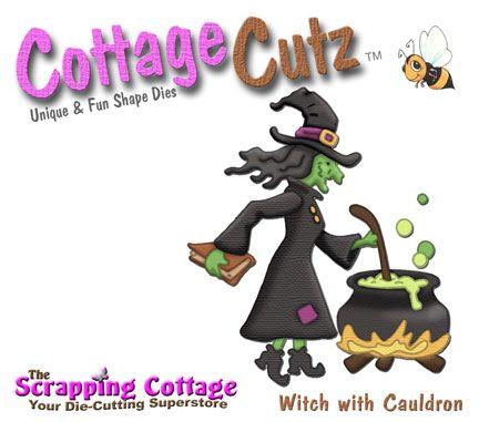 Cottage Cutz-4x4 Dies-Witch w/Cauldron (double die)