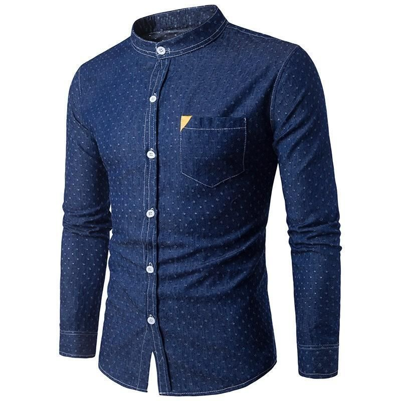 03cbe30efa Mens Button up denim style dress shirt collarless with breast pocket long  sleeve  Undisclosed  ButtonFront