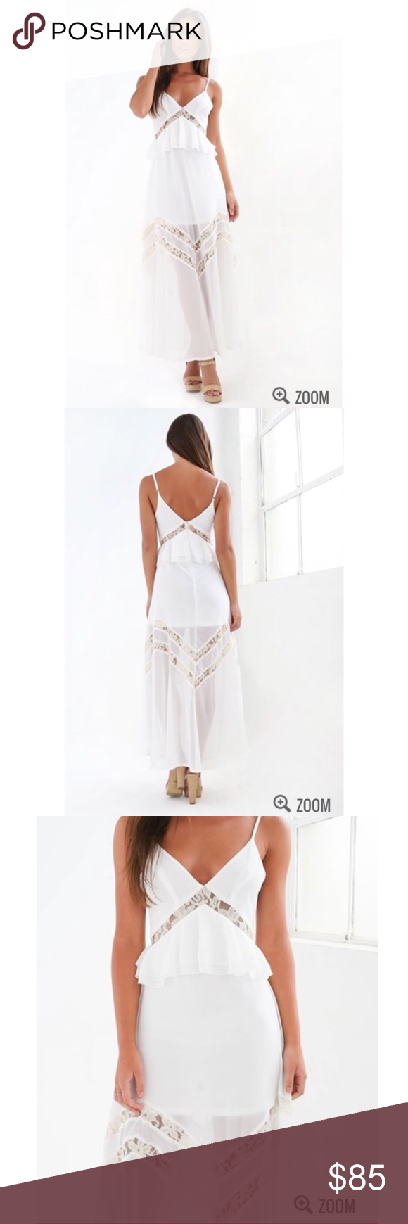 Long white maxi dress **Available in AUS size 6, 8, 10, 12 (equivalent to US XS, S, M, L)***  thin straps lace detailed cut outs sheer overlay zip closure tiger mist Dresses Maxi