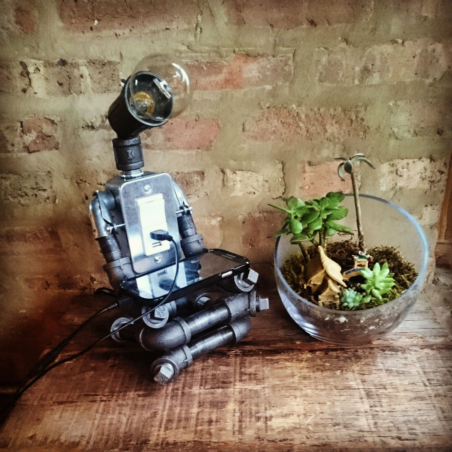 The Meditator Industrial Pipe Robot Lamp with 2 USB ports   Pipes ...