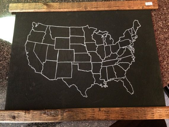 USA Map Outline Chalkboard Paint With Wood Trim Can Write On - Us map chalkboard