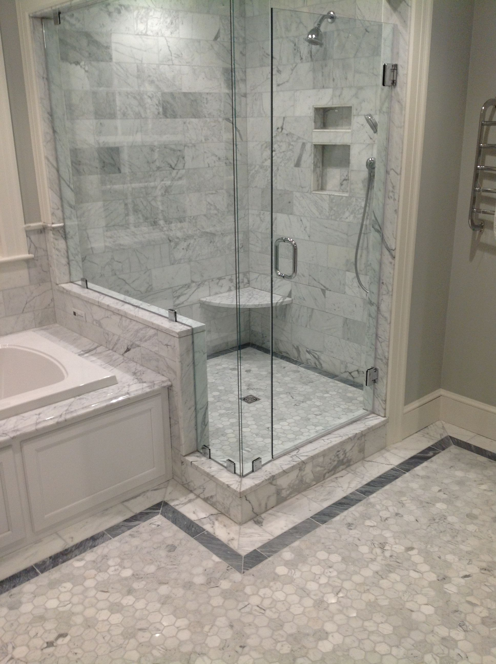 2 Quot White Carrara Hexagon With 6 Quot X12 Quot White Carrara On The
