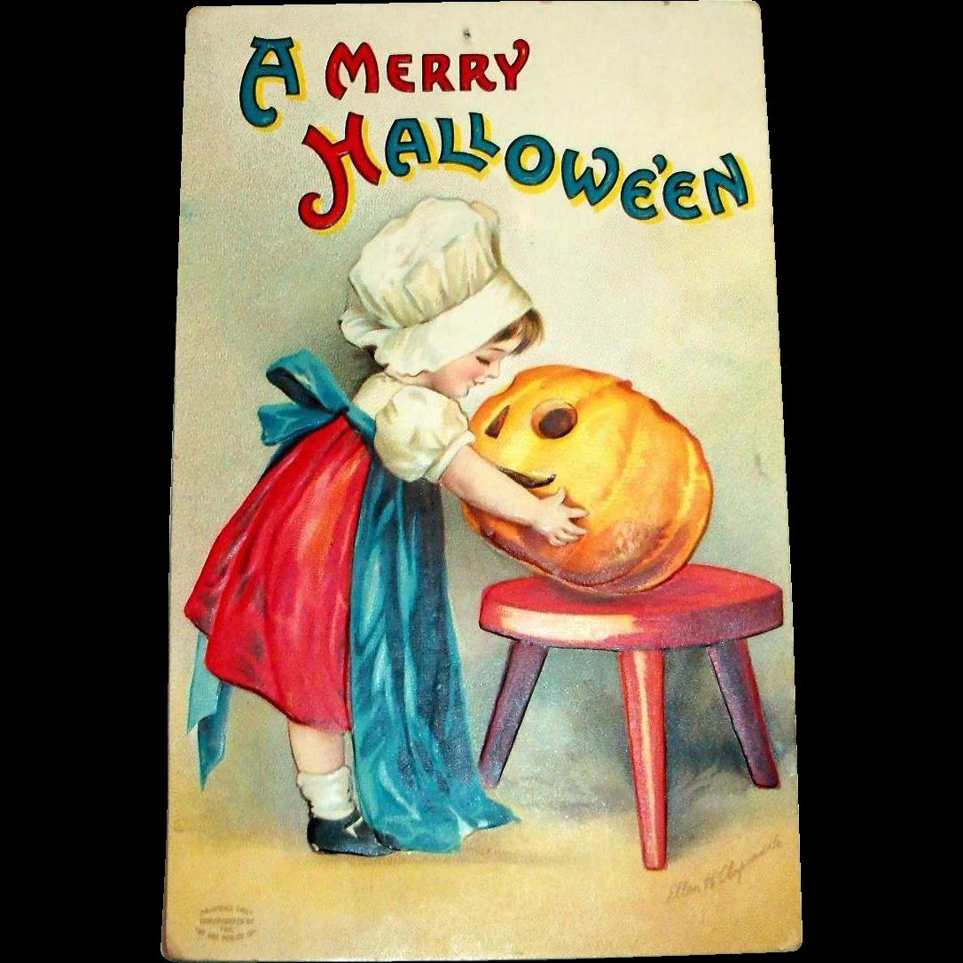 international art publishers: a merry hallowe'en postcard signed