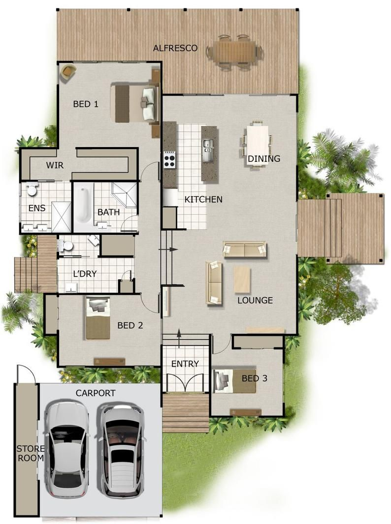 242m2 4 Bedrooms 3 Bedrooms Split Level Floor Plan 3 Bedroom Carport Plans Modern 3 Bed Home For Sloping Land 3 Bed House Plans House Plans Australia Split Level House Plans Beach House Flooring