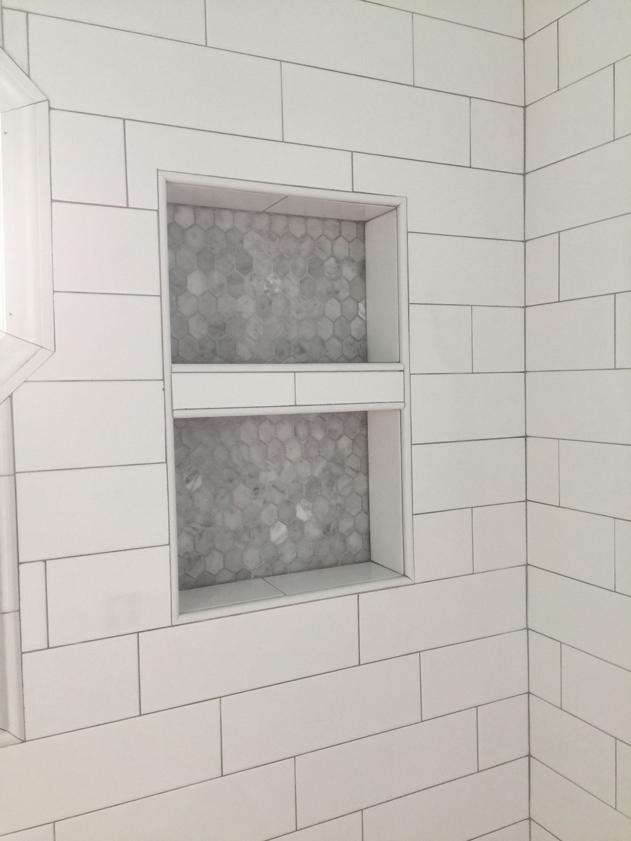 Our marble niche with oversized subway tile and grey grout post our marble niche with oversized subway tile and grey grout dailygadgetfo Image collections