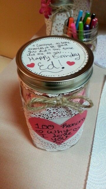 Inexpensive Quick And Easy Love Filled Gift Mason Jars Doiles Twine And Construction Paper 10 Boyfriend Gifts Birthday Gifts For Boyfriend Love Jar