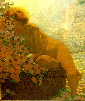 ORIGINAL OIL PAINTING BY FAMOUS AMERICAN ' MAXFIELD PARRISH ' (1870-1966)