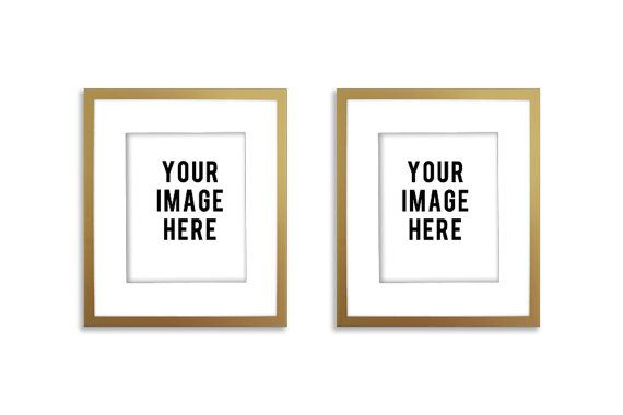 Product Mockup Digital frames double two GOLD by moderncolormix