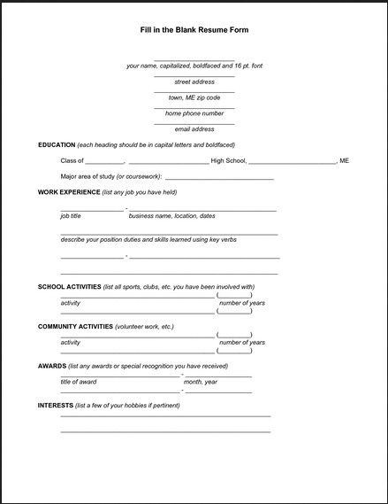 basic resume form to printable httptopresumeinfobasic