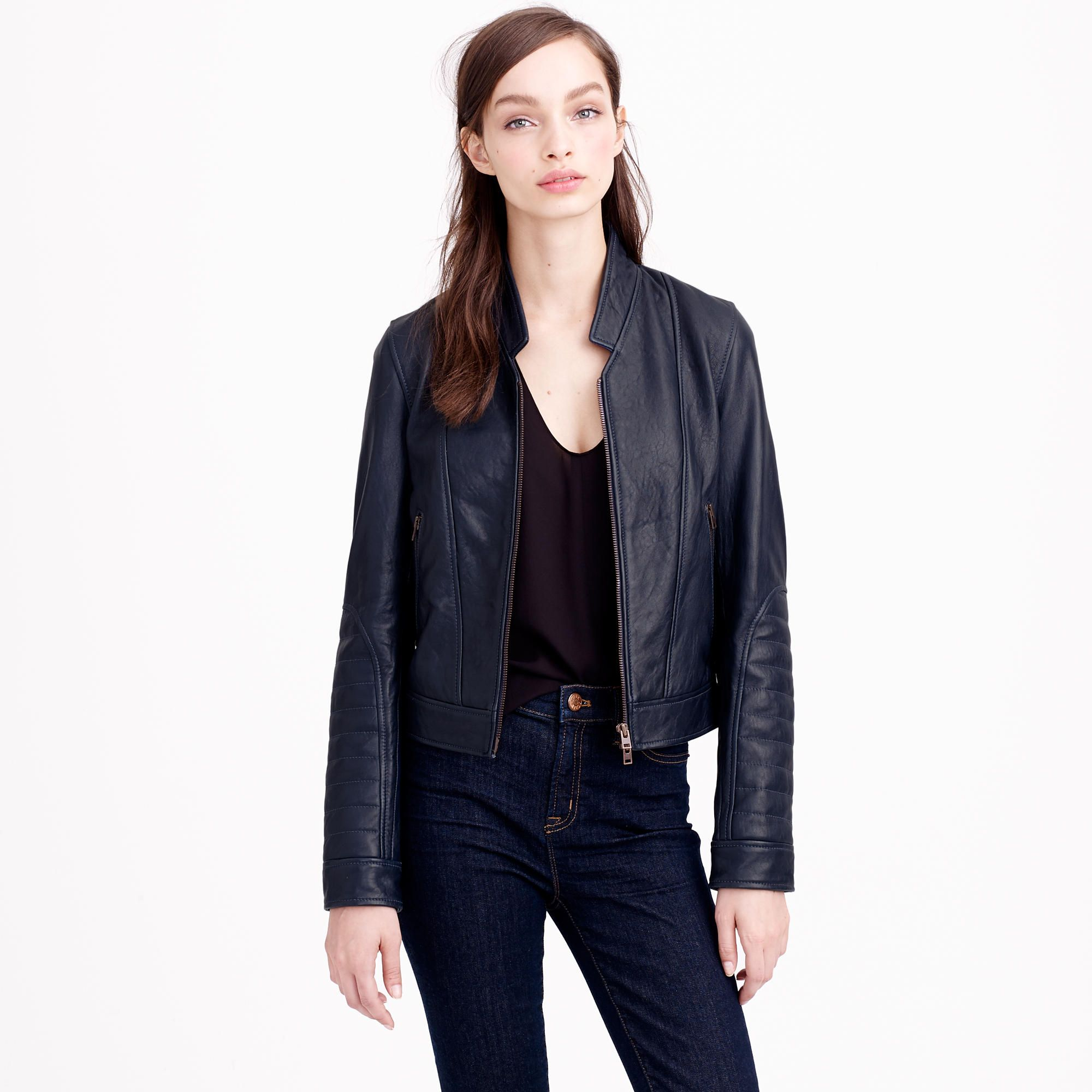 b4a9c8557 Collection Standing Collar Leather Jacket | J. Crew | Navy blue ...