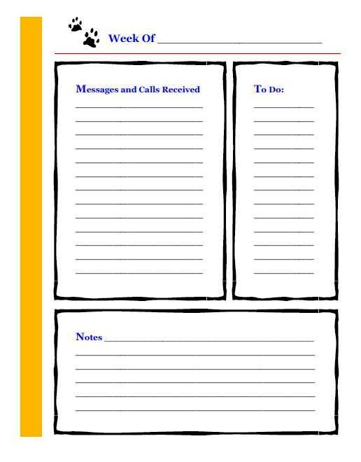 Note page for keeping track of phone messages and week to do list - office to do list template