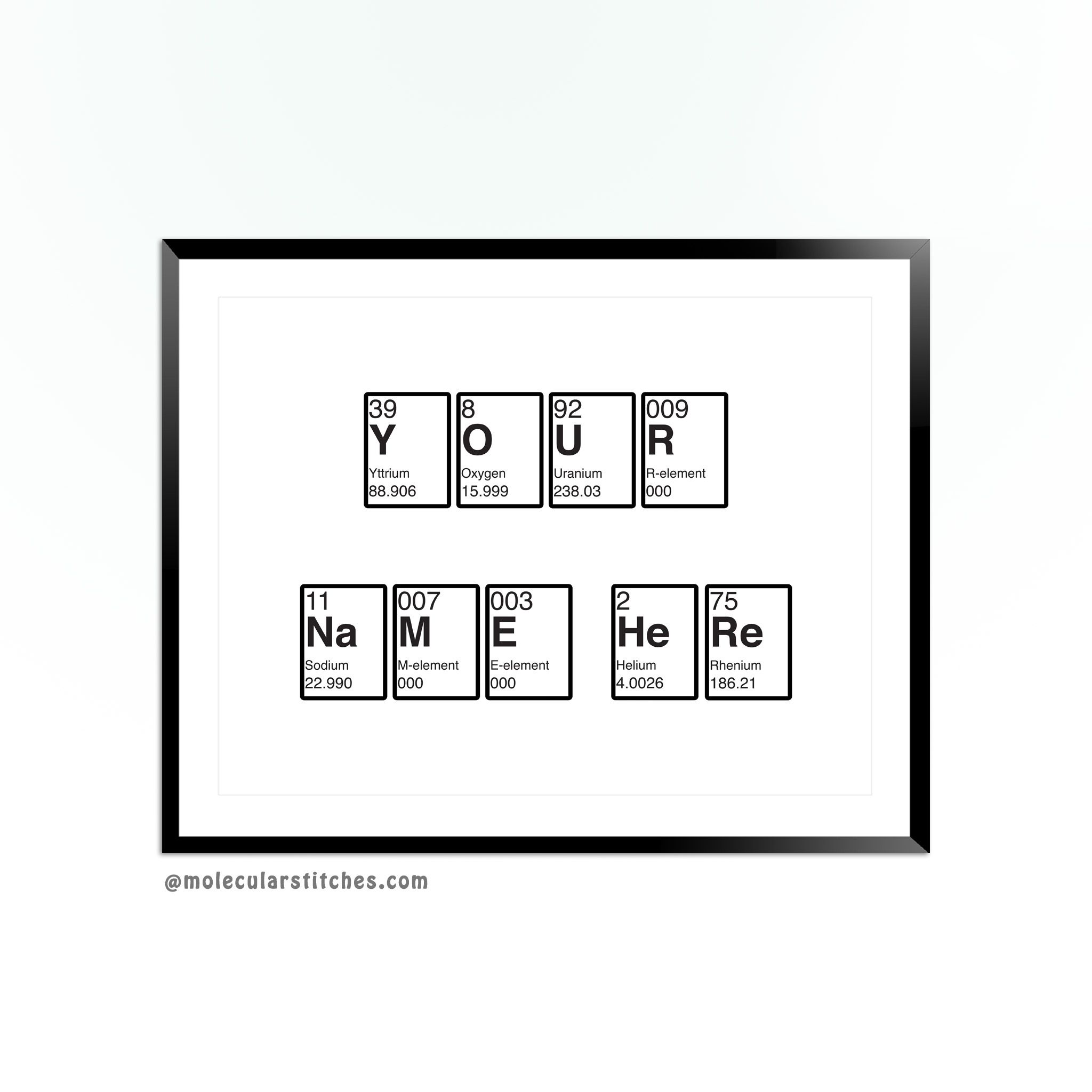 Personalized periodic table of elements poster, science