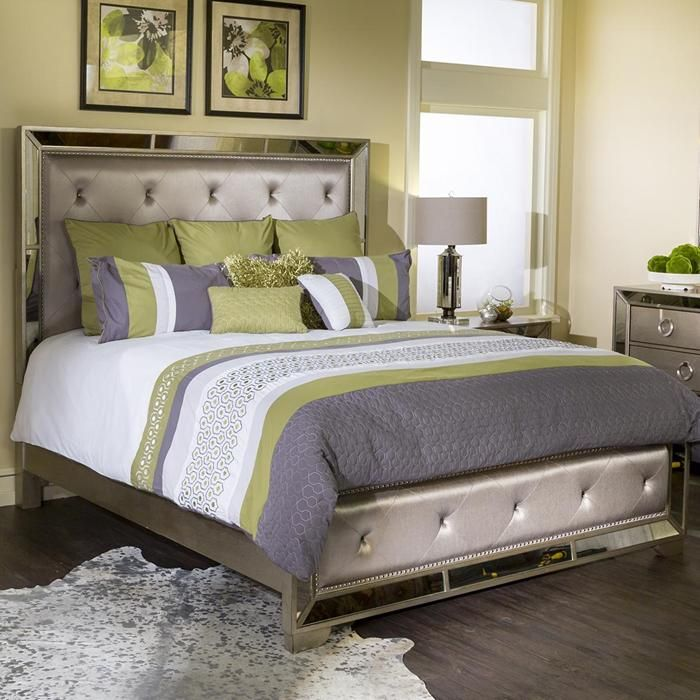Farrah Queen Bed In Silver | Nebraska Furniture Mart