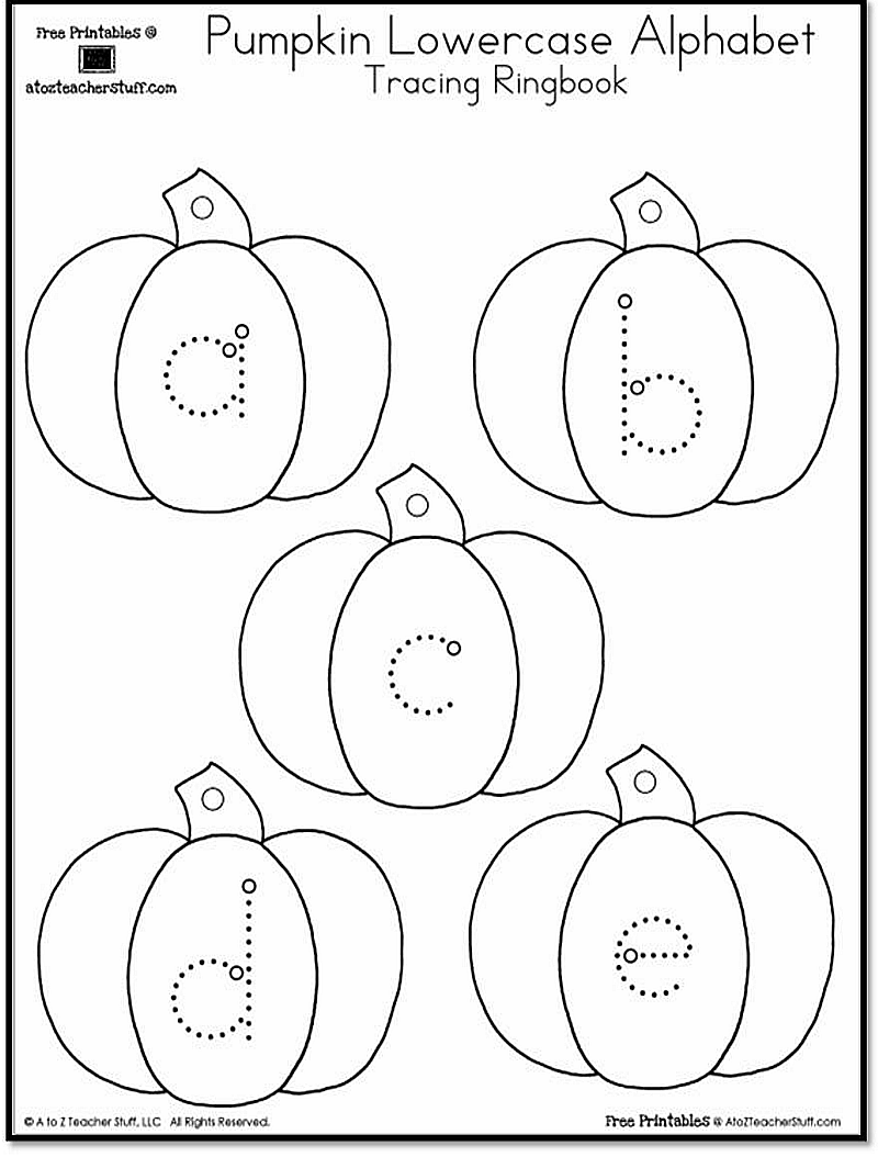 {free} pumpkin uppercase and lowercase alphabet tracing
