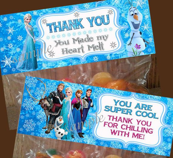 Disney Frozen Treat Bag Toppers Thank You By Letspartype 5 00