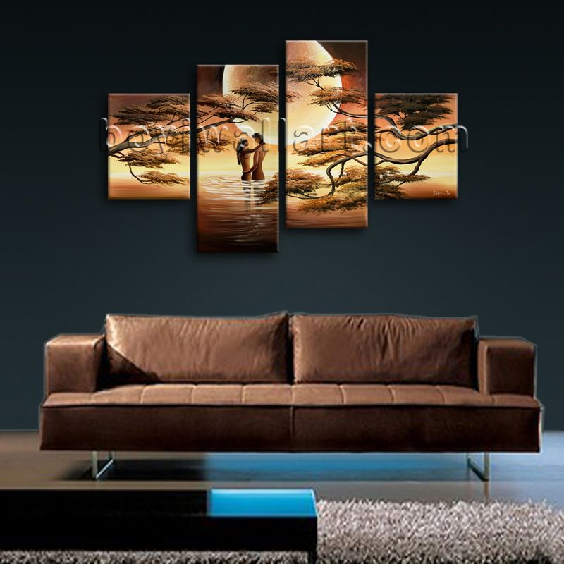4 Panel(s) Split High quality canvas print on artist canvas. It is very nicely designed art Landscape in Abstract style. This piece is great for interior home or office decor and it's absolutely stunning and would give great ambiance anywhere it is hung.?