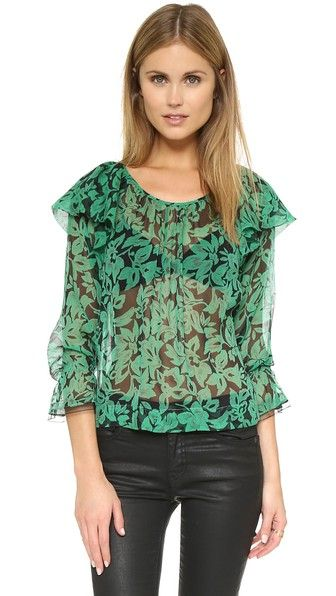 Twelfth St. by Cynthia Vincent Ruffle Sleeve Silk Blouse