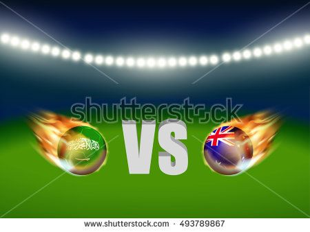 Saudi Arabia vs Australia soccer ball in flag design on stadium - scoreboard template