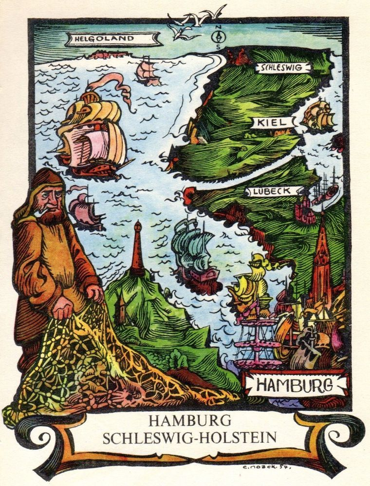 Cartoon Map Of Germany.1956 Vintage Hamburg Germany Picture Map Print Pictorial Cartoon Map