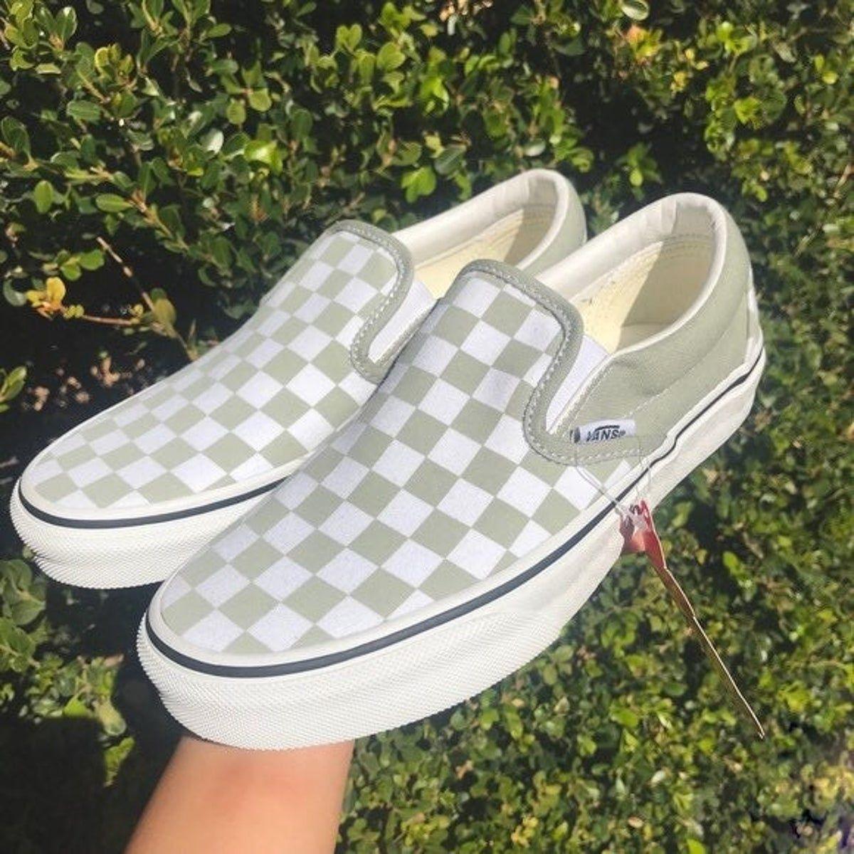 Desert Sage Green Checker Slip On Vans