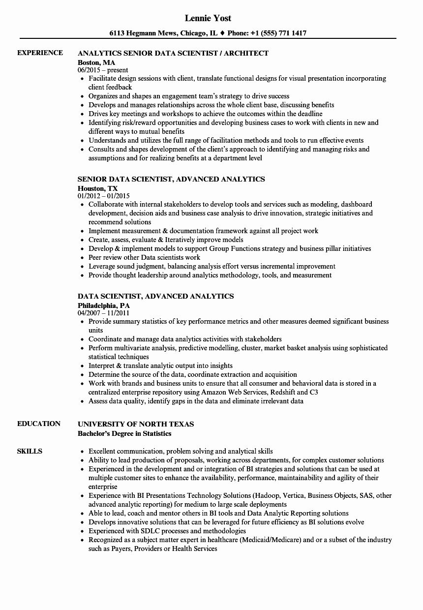 Data Scientist Entry Level Resume Beautiful Data Scientist