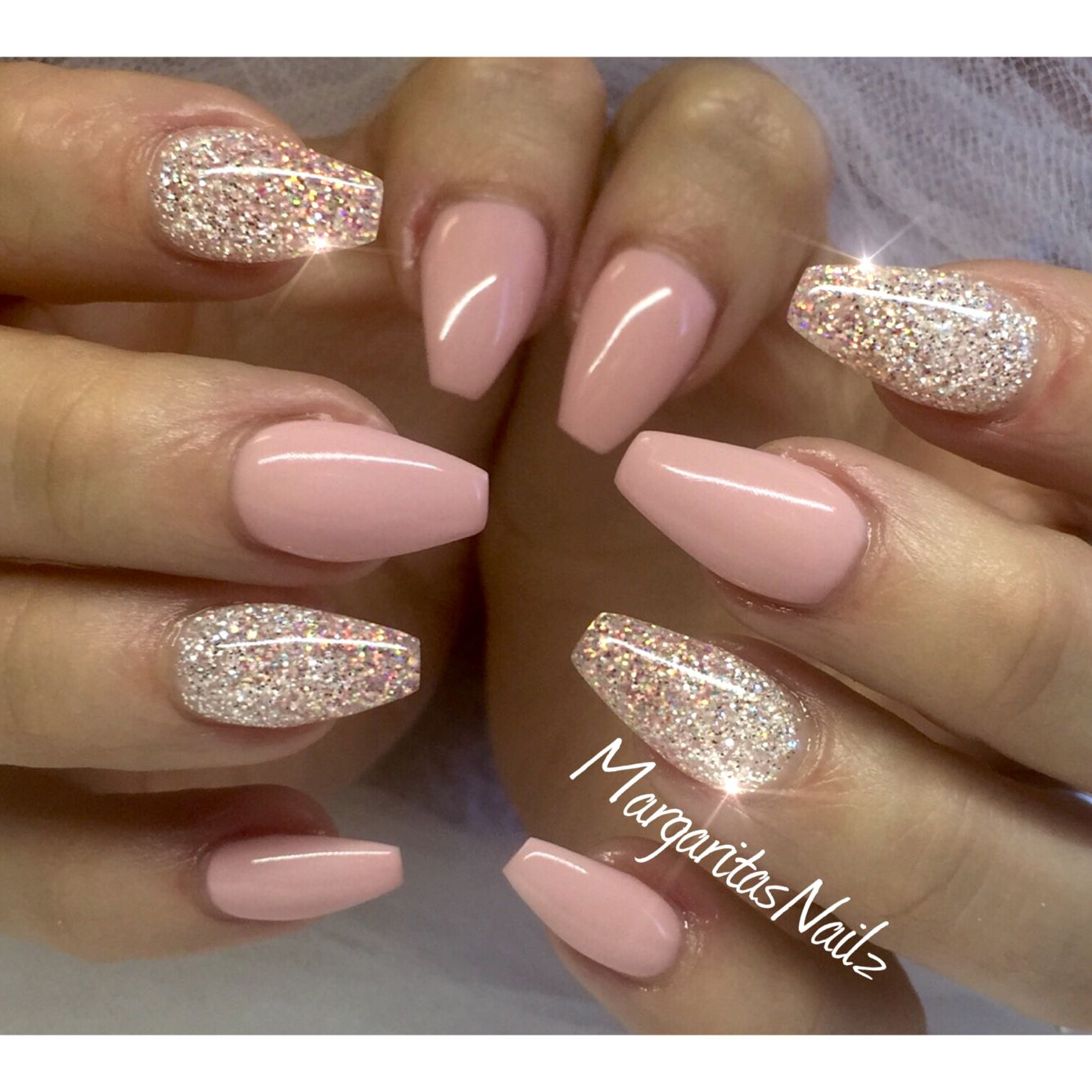 Pink and silver nails - Nude Pink Glitter Nails More