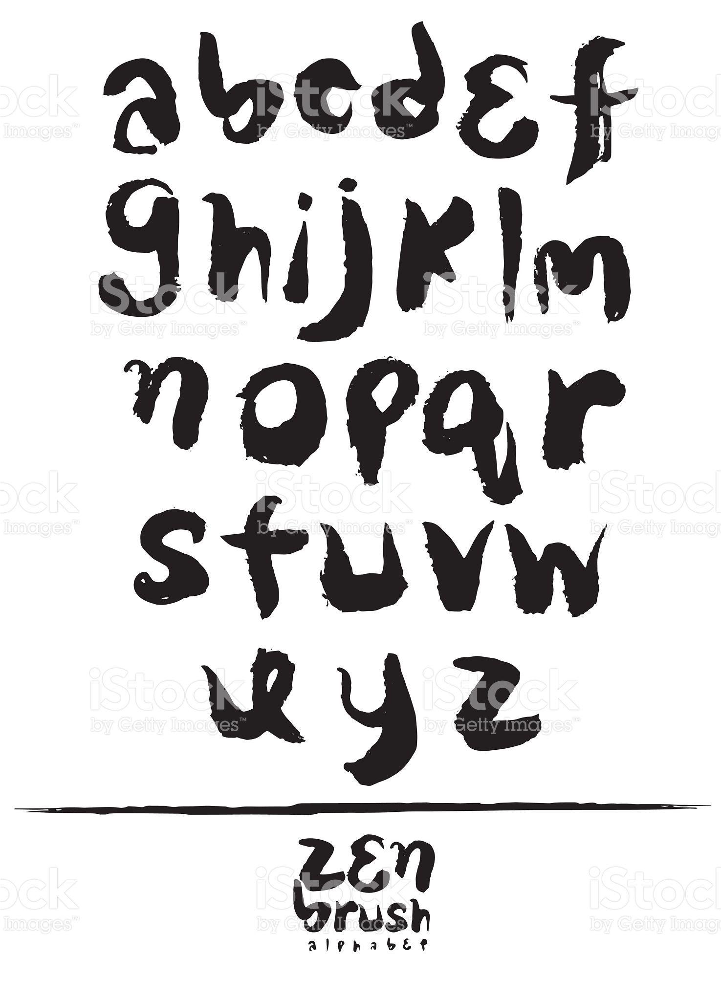 Zen Calligraphic Brush Font Brush Painted Letters Handwritten Script