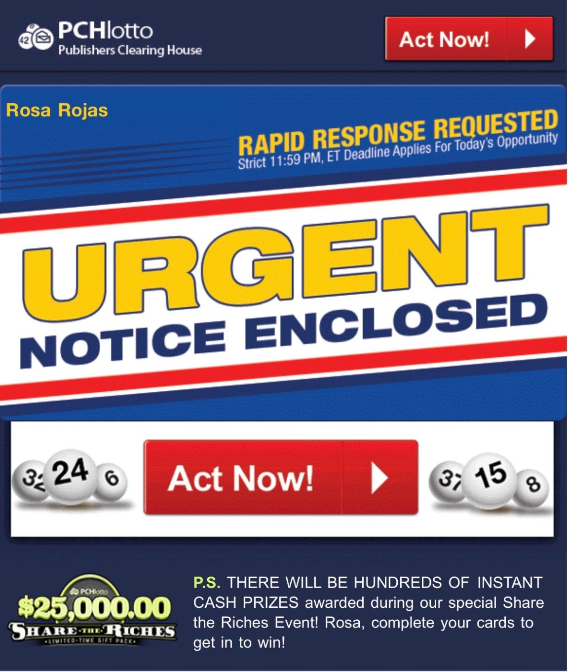 PCH LOTTO ACTNOW URGENT NOTICE I RROJAS NOW OFFICIALLY CLAIM