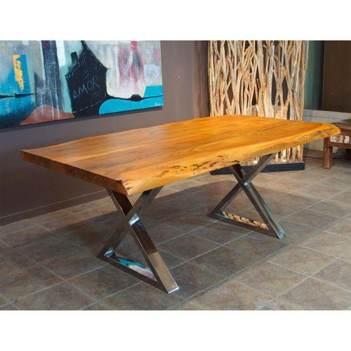 Zen Acacia Live Edge X Leg Dining Table