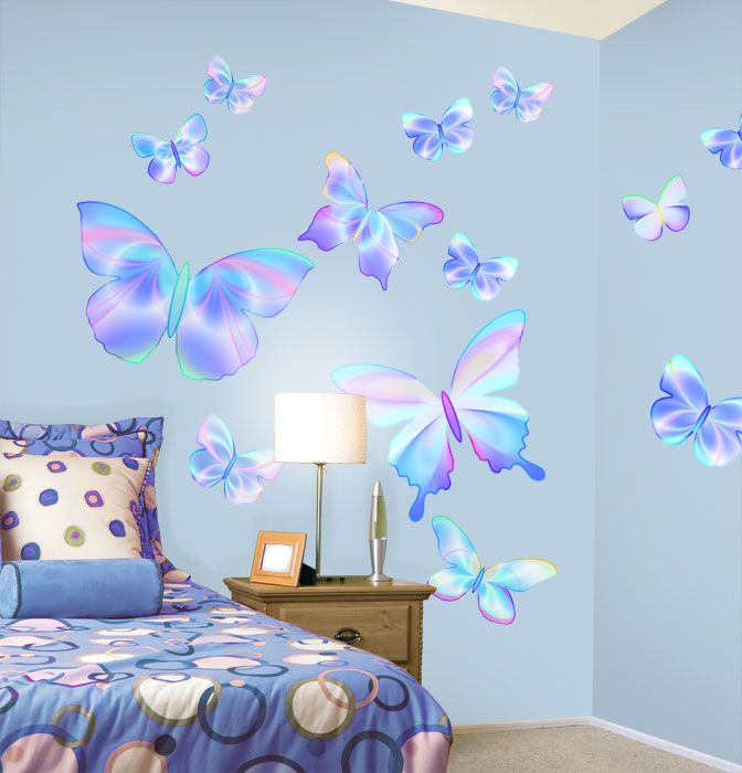Fluttering Butterfly Peel and Stick Wall Mural in Summertime Blue ...