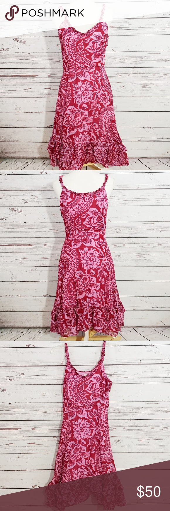 28f893c733ae4 Odille Anthro floral print ruffle trim dress BRAND: Odille Anthropologie  SIZE: 8 FLAW: