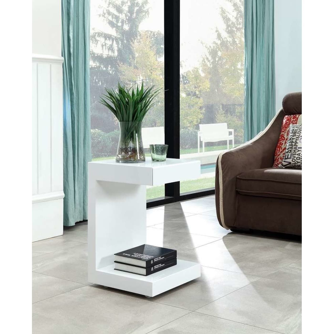 Casabianca Home Lino High Gloss White Lacquer OneDrawer