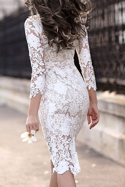 Stylish Women s Lace Cut Out Over Hip 3 4 Sleeve Pure Color Dress ... 5824b6bf2