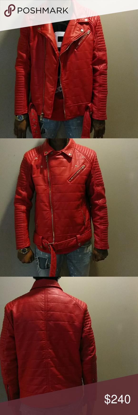 1b96783baeaca2 Zipper red biker jacket Red zipper jordan craig Jackets   Coats Bomber    Varsity