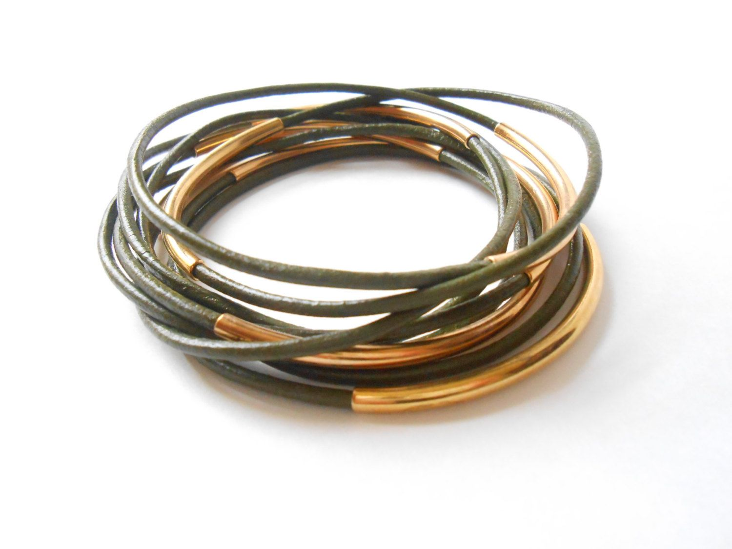 Leather jewelry bangle stack bracelets with gold tube leather